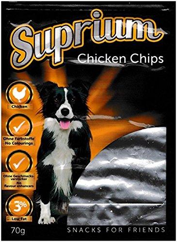 Suprium Chicken Chips Premium Hundesnack Leckerli Huhn Natürlich Fettarm, 15er Pack (15 x 70 g)