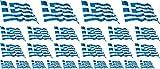 Mini Aufkleber Set wehend - 4x 51x31mm+ 12x 33x20mm + 10x 20x12mm- selbstklebender Sticker - Fahne - Griechenland - Flagge / Banner / Standarte fürs Auto, Büro, zu Hause und die Schule - Set of 26