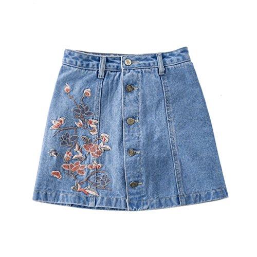 Sentao Damen Stickerei kurze Hosen Knopf Minirock Sommer Kurz Jeans Shorts Licht Blau 1 S