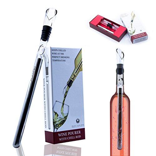 HOMPO Edelstahl Weinkühler Stick Stange Weinflaschenkühler Flaschenkühler mit Dekantier-Ausgießer und Edelstahl-Kühlstab