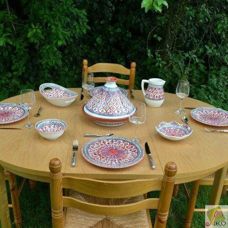 Servicio Tajín platos llanos BAKIR rojo–6Pers