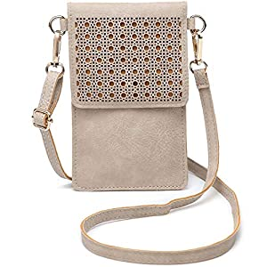 SeOSTO Handy Schultertasche, Kleine Tasche Umhängetasche für Damen Frauen (metallisches Grau)