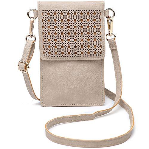 SeOSTO Handy Schultertasche, Kleine Tasche Umhängetasche für Damen Frauen (Beige)