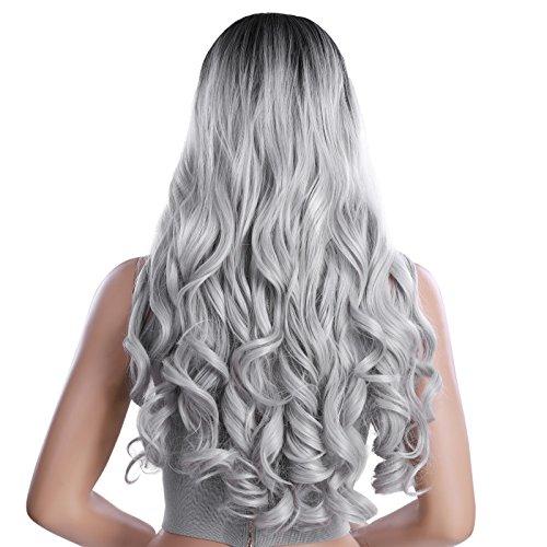 SONGMICS Perücke ombre Grau Wig Mittelscheitel lang lockig voll synthetische Haare Haarersatz für Damen party cosplay 66 cm WWG02BG