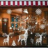 Tuopuda Noël Fenêtre Autocollant Noël Stickers Blanc Wapiti Renne Flocons de Neige Mural Stickers Statique Porte Décor Maison Accueil Boutique Décorations Bricolage Amovibles Décalcomanie