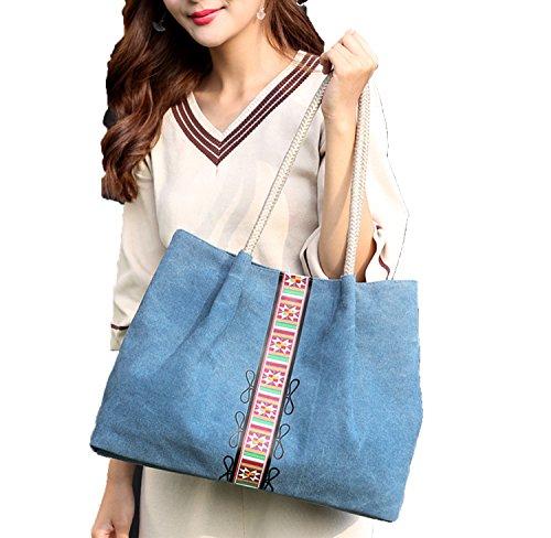 PB-SOAR Damen Vintage Canvas Shopper Schultertasche Henkeltasche Handtasche Beuteltasche Freizeittasche mit trendigem Druck (Grau) Blau