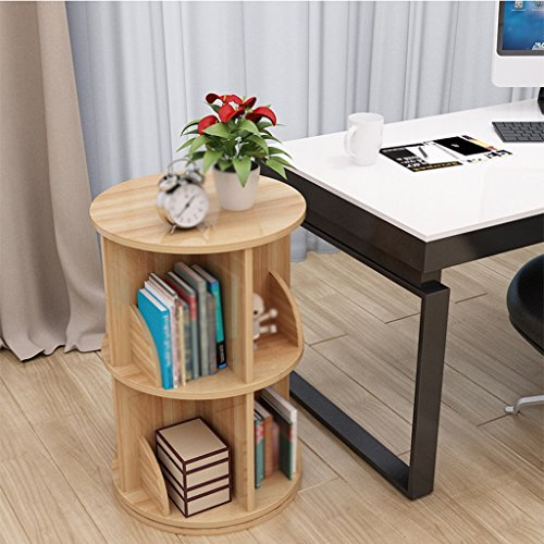 ZCJB Weinregal Rotierende Bücherregal Multilayer Large Capacity Tisch Lagerregal Study Table Kreative Und Einfache Studie Schlafzimmer Finishing Rack ( Farbe : Light walnut , größe : 2-tier ) (High Bücherregal)