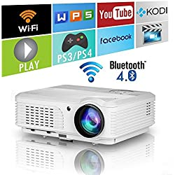 Home Wireless Bluetooth Proyector 4200 lúmenes HD HDMI WiFi Airplay para iPhone Mac iPad Laptop Smartphone Tablet PC DVD, Smart WXGA LED portátil Video proyectores LCD Juegos de películas