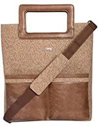 Veuza Berlin Premium Jacquard And Faux Leather Women's Brown Tote Bag