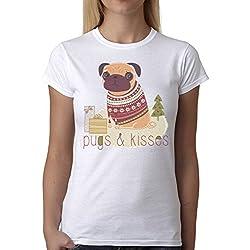 Camiseta Para Mujer Pugs & Kisses Funny Dog Pug