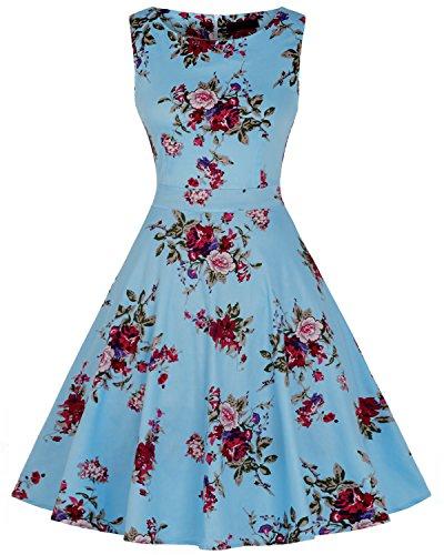 MERRYA Sans Manche Robe de Soirée Cocktail Fête Rétro Imprimée 1950's Audrey Hepburn Bleu Clair