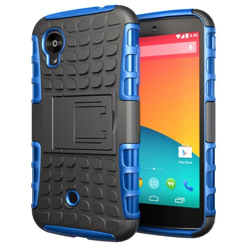 Etui ProteKtoR LG Nexus 5 16/32/64 Go (3G/Wifi/4G/LTE) bleu et noir avec stand - Housse coque de protection Silicone avec stand Google LG Nexus 5 - Prix découverte accessoires pochette XEPTIO case