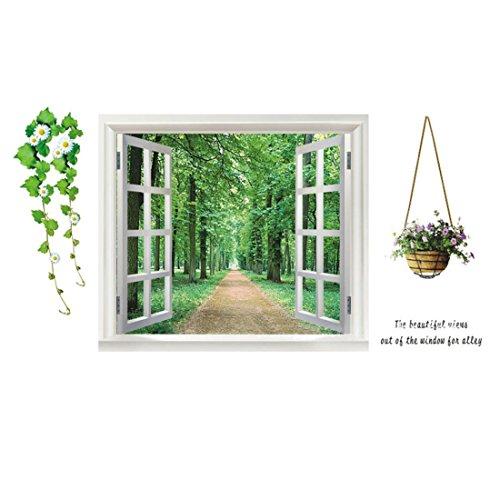 sourcing map Haus Schlafzimmer PVC Fenster Baum Muster Selbstklebende Wandaufkleber Dekoration grün DE