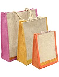 NISUN Combo of 3 Different Size Multipurpose Grocery Shopping Jute Bag with Zip Closure Assorted Colors