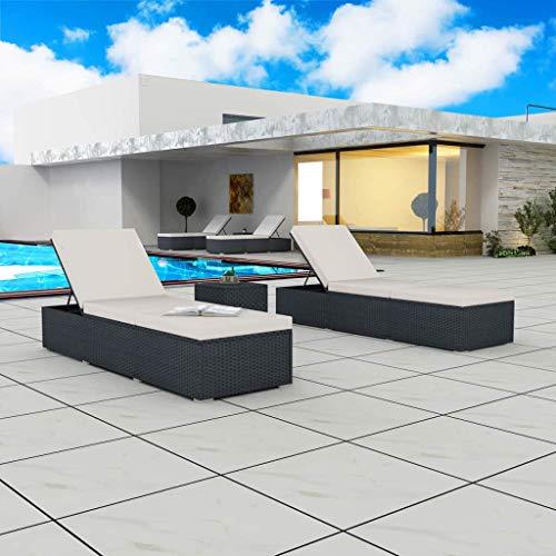 Tidyard- Outdoor Sonnenliegen-Set 5-TLG. Poly Rattan| Gartenliege Polyrattan und Stahlrahmen | Relaxliege Liege Strandliege Gartenmöbel