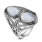 WYYDJZ Anillo de Piedra Lunar 925 Anillos de Plata esterlina para Mujeres Hombres Joyería Fina Regalos