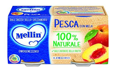 Mellin Omogeneizzato Di Frutta Pesca con Mela 100% Naturale 24 Vasetti da 100 gr