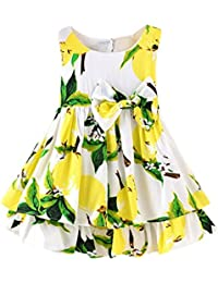 e44fbff202 COOKDATE-baby girl dress for 0-4 Years Old, Children Kids Girls Lemon  Cartoon Print Bowknot Casual Princess…