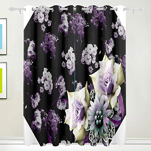 XiangHeFu Morden Blackout Vorhänge mit Tülle Top Wunderschöne Blumenmuster Vorhänge Set aus 2 Panels, jeweils 55W x 84L Zoll für Zuhause Wohnzimmer Schlafzimmer Büro (84-zoll-dusche Vorhang Braun)