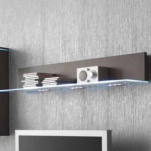 Anbauwand 3-tlg. in Hochglanz grau, TV-Element, Hängevitrine, Glasbodenpaneel, Mindestbreite: ca. 180 cm, Tiefe: ca. 40 cm - 3