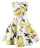 MuaDress MUA6003 Mädchen Vintage Kleid Babykleider Polka Festlich 50er Kleid Lemon XL