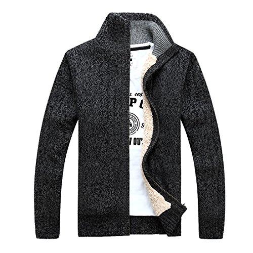 GWELL Herren Strickjacke mit Fleece Einfarbig Verdickte Sweater Cardigan Strickpullover mit Reißverschluss Stehkragen, Dunkelgrau, EU XL (Schild: XXXL) -