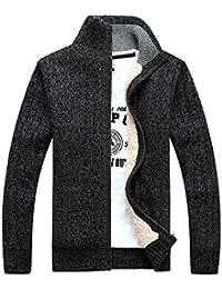 338e7d960064 GWELL Homme Cardigan Veste en Maille Ouvrez-Front Zippé Gilet Automne Hiver  en Laine Coton