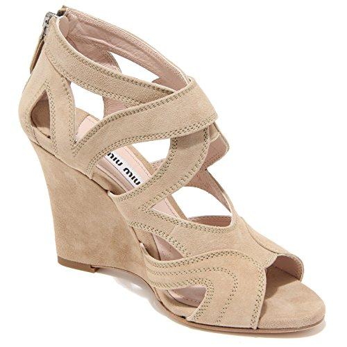 8160I MIU MIU sandalo zeppa donna beige sandal woman scarpe shoes Beige