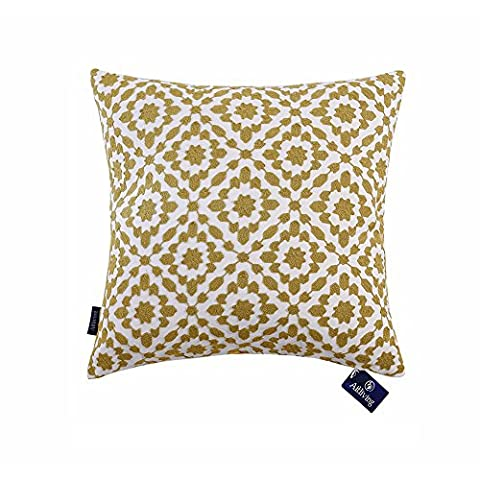 Aitliving Cushion Covers Cotton Canvas Base Mina Yellow Cushion Cover Trellis Decorative Pillowcases 20x20 inches(50x50cm) 1 pc Yellow Ochre Cushion Cover for Sofa and