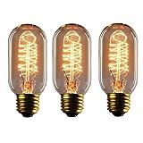KJLARS 3x Edison Glühbirne E27 25W T45 Glühbirne Retro Glühlampe Warmweiß Bulb Antik Leuchtmittel