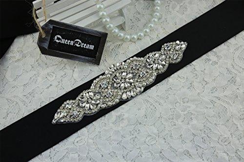 queendream cristallo applique partito perla Cintura fusciacca Foglia Strass Perline applique strass Cintura, colore: nero