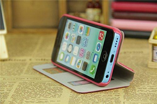 iPhone 5C Handycover, TOTOOSE für iPhone 5C Ultra dünn PU Leder Hülle mit View Windows Flip Stand Funktion Weiches TPU Silikon Abdeckung Schützend Schale Weiß Weiß