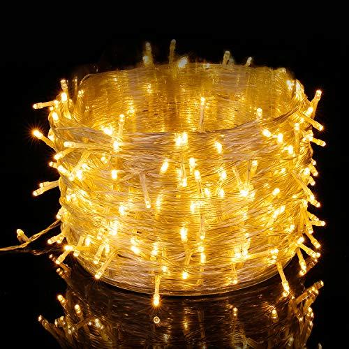 Elegear 100M 500 LEDs Lichterkette warmweiß, 8 Modi LED Weihnachtsbeleuchtung strombetrieb Deko für Innen Außen Neujahr Weihnachten Geburtstag Feiertag Party Hotel Garten Hochzeit