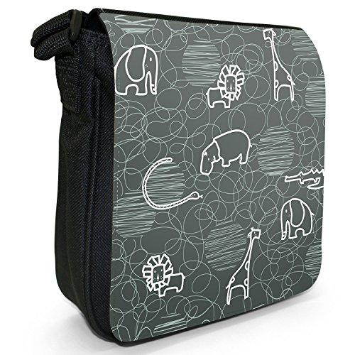 Giraffa, leone, elefante e ippopotamo Borsa a spalla piccola di tela, colore: nero, taglia: S Nero (grigio)
