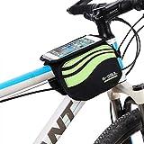 Bicicleta Bolsa de bicicleta marco bolsa, frarradschnalletasche farh Cilindro de bolsa para manillar con 3 bolsillos para Mountain Bike, bicicleta funda con claro de PVC Pantalla Compatible