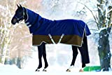 Horseware Amigo Mio All-In-One Turnout Lite ohne Füllung Regendecke mit Halsteil Navy & Tan 115-160 (130)