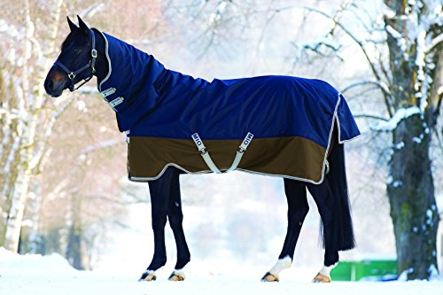 Horseware Amigo Mio All-In-One Turnout Lite ohne Füllung Regendecke mit Halsteil Navy & Tan 115-160