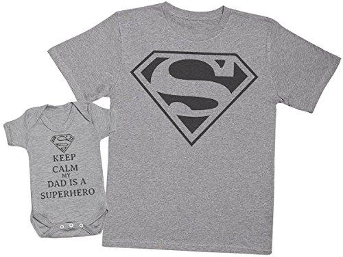 Keep Calm Dad Is A Super Hero - regalo para padres y bebés en un cuerpo para bebés y una camiseta de hombre a juego - Gris - Medium & 12-18 meses