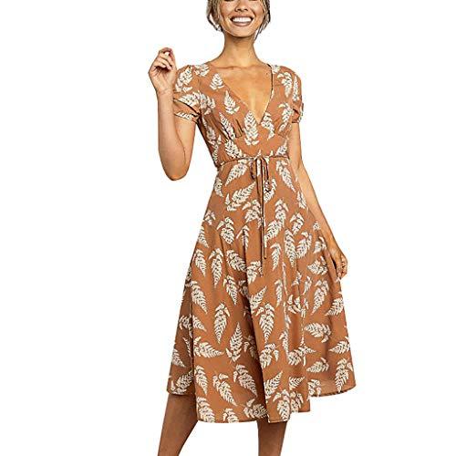 Komise Art und Weisefrauen beiläufiges V-Ansatz Kurzschluss-Hülsen-Blatt-Druck-Verband-Kleid -