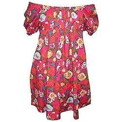 Nuevo adolescente niña rosa blanco verano gipsy boho vestido 14 años 15 años - algodón, Rosa, 100% algodón, Niña, 14 Años