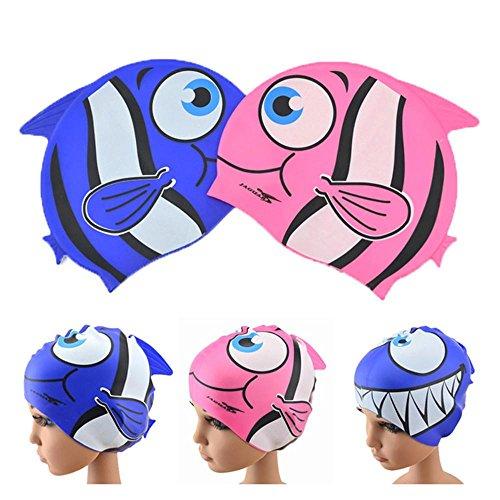 YC azer Badekappe für Kinder, wasserdicht, mit großer Mund, Hai, Fisch-Design, für Jungen und Mädchen im Alter von 2–9Badekappe, Silikon, Schwarz, Tropical