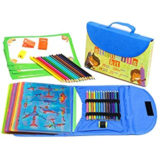 Drawing Stencil Kit for Kids Large 54-Piece| Fun Travel Activity Set, Organizer Case with more 280 Shapes, Art Craft Girls And Boys, Creativity Educational Toy Ages 3 to Teen | Excellent Gift for Kid (Blue)