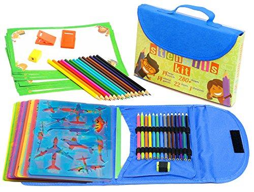 Schablonen Zeichnungs-Set für Kinder großes 54-teiliges amüsantes Reisetätigkeits-Set, Organizer Koffer mit 280 Formen, Kunsthandwerk für Mädchen und Jungen | Hervorragendes Geschenk für Kinder
