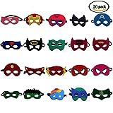 BUWANT Superheld Masken Super Masken Weihnachten Maske Superheld Cosplay Party Augenmasken 20 Stück Filz Masken Masken - latexfrei, Perfekt für Kinder ab 3 Jahren
