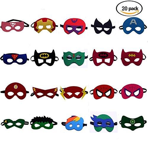 LAOZHOU Superheld Masken Super Masken Weihnachten Maske Superheld Cosplay Party Augenmasken 20 Stück Filz Masken Masken - latexfrei, perfekt für Kinder ab 3 Jahren