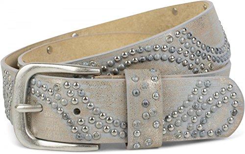 styleBREAKER Vintage Nietengürtel mit glitzerndem Strass und Nieten in runder Anordnung, Damen 03010066, Farbe:Antik-Beige;Größe:95cm - Runde Antik