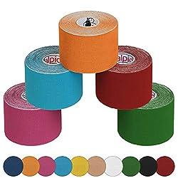 ALPIDEX 5 Rollen Kinesiologie Tape 5 m x 5,0 cm, Farbe:bunt