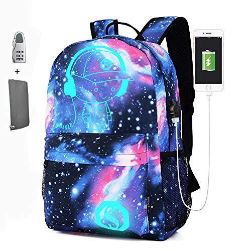 FPTB Schultasche Leuchtend, 14 Zoll Laptop Rucksack Wasserdichter Schulrucksack mit USB-Ladeanschluss Großraumcomputertasche, Nylontuch, Blau