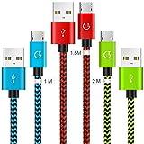 Gritin Micro USB Kabel, 3 Stück 1m+1.5m+2m Nylon USB cable Ladekabel 2.4A geflochtenes für Android Smartphones, Samsung, HTC, Sony, Nexus und mehr - Farbig