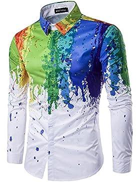 salpicaduras de pintura de color de impresión de la solapa camisas casuales de tinta 3D de los hombres camisa...